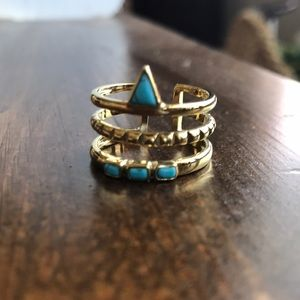 Stella and Dot gold and turquoise ring.